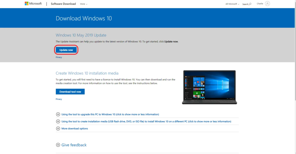 Using the Windows Update Assistant (0xC1900107)