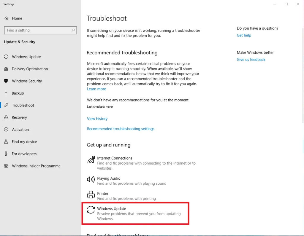 Windows 10 Troubleshoot Windows Update