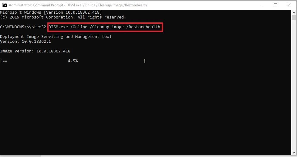 Attempt a DSM Repair on Windows 10 CMD