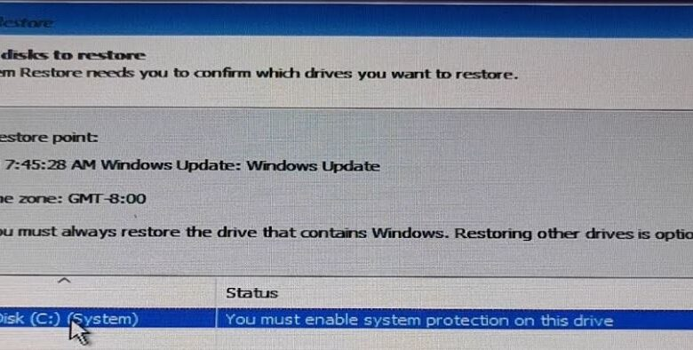 Correcting the 'You Must Enable System Protection on This Drive'.