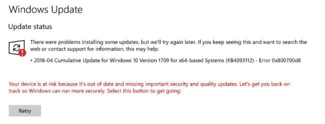 Recovery: Error 0x800700d8 in Windows 10