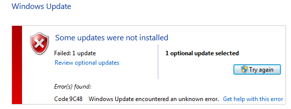 Error code 9c48 - Windows Update Error (fixed).