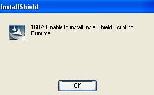 Fix the error - 1607: Can't Install InstallShield Scripting Runtime.