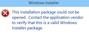 "Fixed ""The installation package could not be opened"" issue"