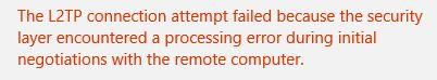 """Restore: """"L2TP connection attempt failed"""" error"""
