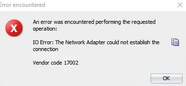 Network adapter could not connect to Oracle SQL
