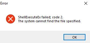 "The ""ShellExecuteEx Failed"" error has been fixed."