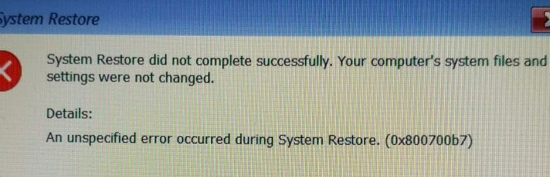 System recovery Error 0x800700b7 (fixed)