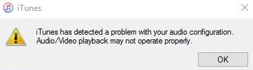 The repair for 'iTunes has detected a problem with your audio configuration'.