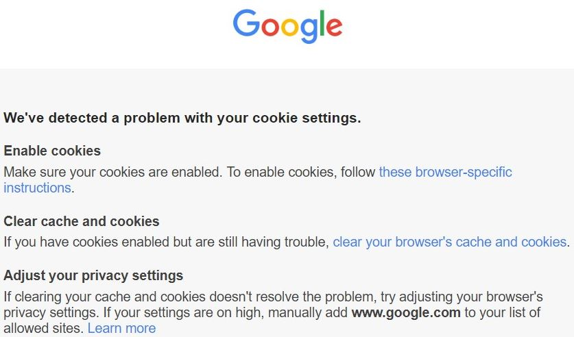 """Restore the """"We've Detected a Problem with your Cookie Settings"""" issue"""