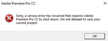 What are the causes of the Adobe Premiere Pro crash?