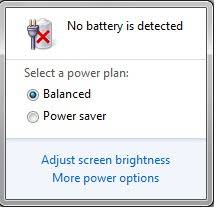 """What is the cause of the """"Battery not detected"""" problem on my computer?"""