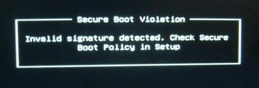 """What is the cause of the """"Security breach on boot - invalid signature detected"""" problem in Windows?"""