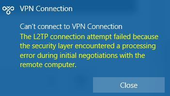 """What is the reason for the """"L2TP connection attempt failed"""" error?"""
