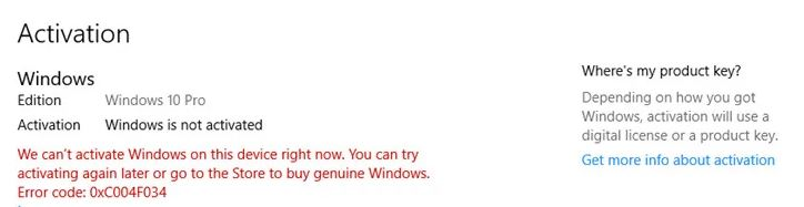 Bug fix: Windows 10 activation error 0xc004f034