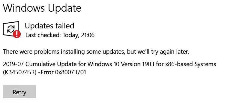 Fixed: Windows Update installation error 0x80073701