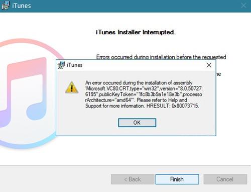 Fixed: iTunes HRESULT error 0x80073715