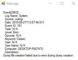 "Fixed ""Dump file creation failed due to dump creation error"" error"