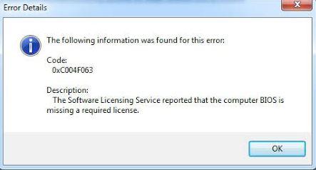 Fixed Windows activation error 0xc004f063