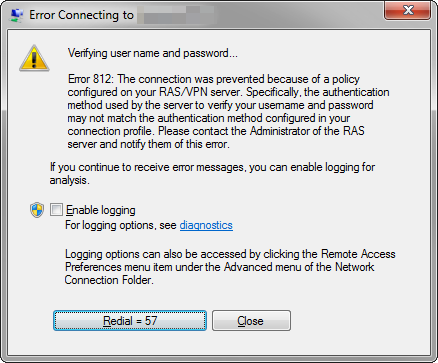 Correcting VPN error 812: The connection was terminated due to the policy configured on your RAS/VPN server