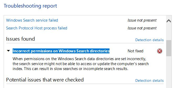 """Fixed """"Incorrect permissions for Windows search directories"""" bug"""