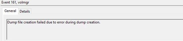 """What is the reason for the """"Dump file creation failed due to a dump creation error""""?"""