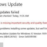 Bug fix for updates failed 0x800f0988