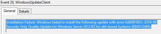 Fixed 0x800f0831 installation failure when installing an update