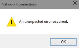 How to clear the error in the Ethernet properties: An unexpected error occurred