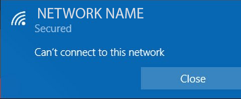 Fix Windows Error : Can't connect to this network