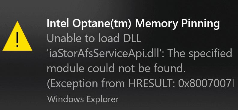 How to fix an Intel Optane memory pinning error in Windows 10