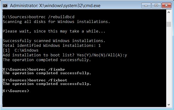 To fix boot configuration error 0xc0000454