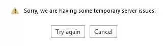 """Office 365 """"Sorry we are having some temporary server problem"""" error has been fixed"""