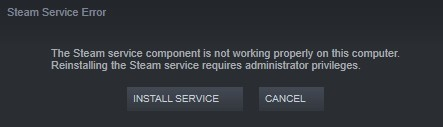 Troubleshooting the Steam service component error in Windows 10