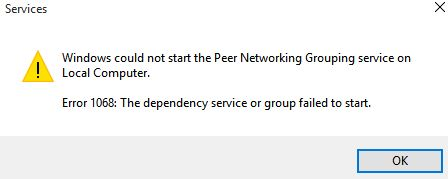 How to fix the error: The Dependency Service or Group Failed to Start