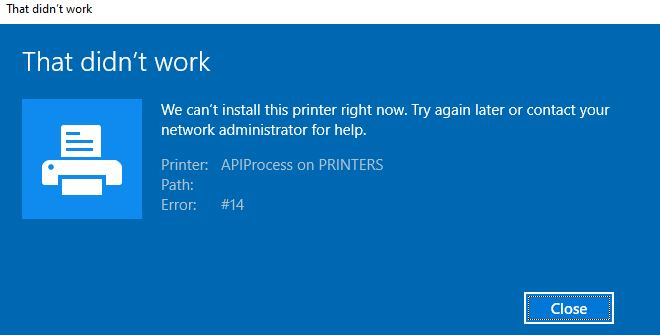 Fixing the error : We are unable to install this printer right now