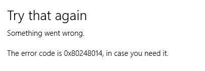How to fix Windows 10 error code 0x80248014