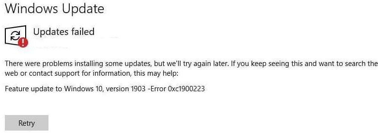 Fixed Windows Update error 0xc1900223