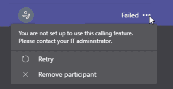Fixed : You are not configured to use this calling feature