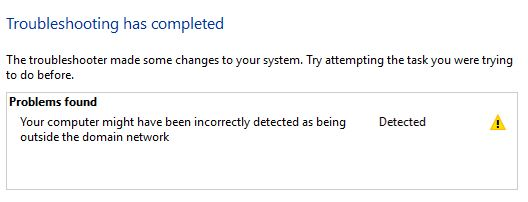 Correcting the Windows 10 error: Your computer may have been incorrectly detected as being outside the domain network