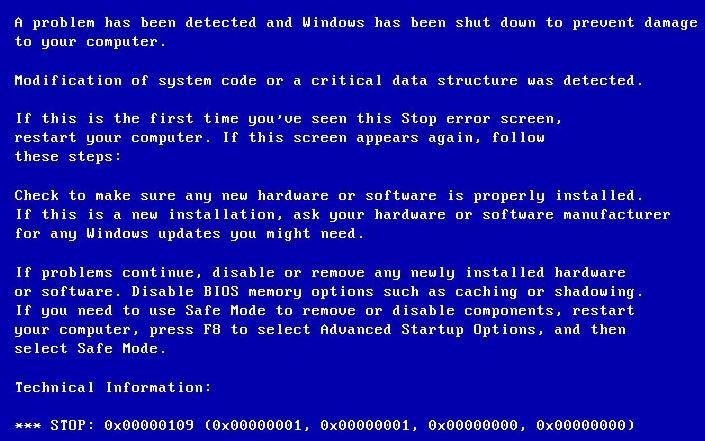 To fix the blue screen error 0x00000109