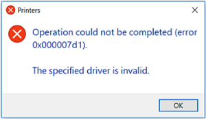 """Fixed Cannot print error: """"The specified driver is invalid"""""""