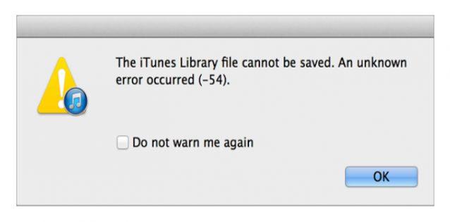 Troubleshooting iTunes error 54 - Unknown sync error