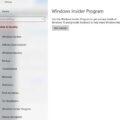 Insider Program Settings page