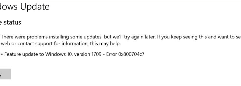 Windows Update - Error 0x800704c7