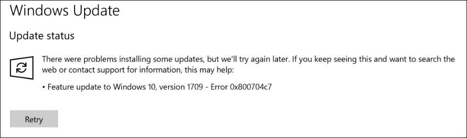 Windows Update - Error 0x800704c7