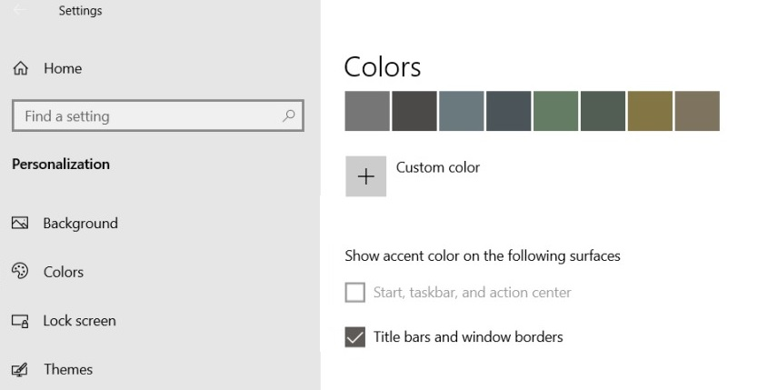 How to fix the grayed out display color in Windows 10 taskbar