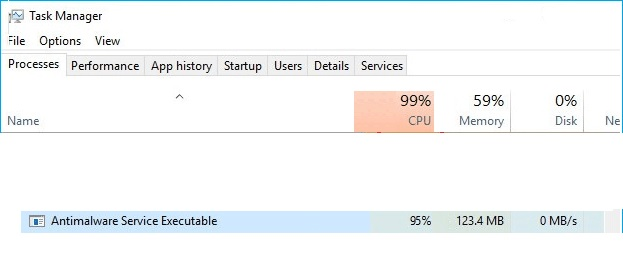How to fix high CPU utilization by Antimalware Service Executable